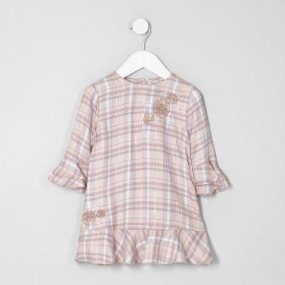 Mini Roze geruite jurk met borduursel voor meisjes