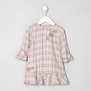 Mini - Roze geruite jurk met borduursel voor meisjes
