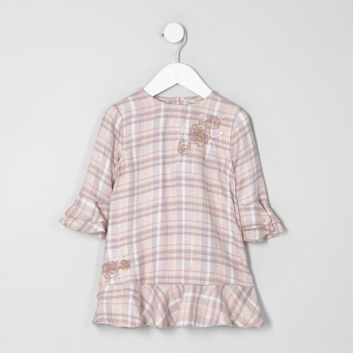 Mini girls pink check embroidered smock dress