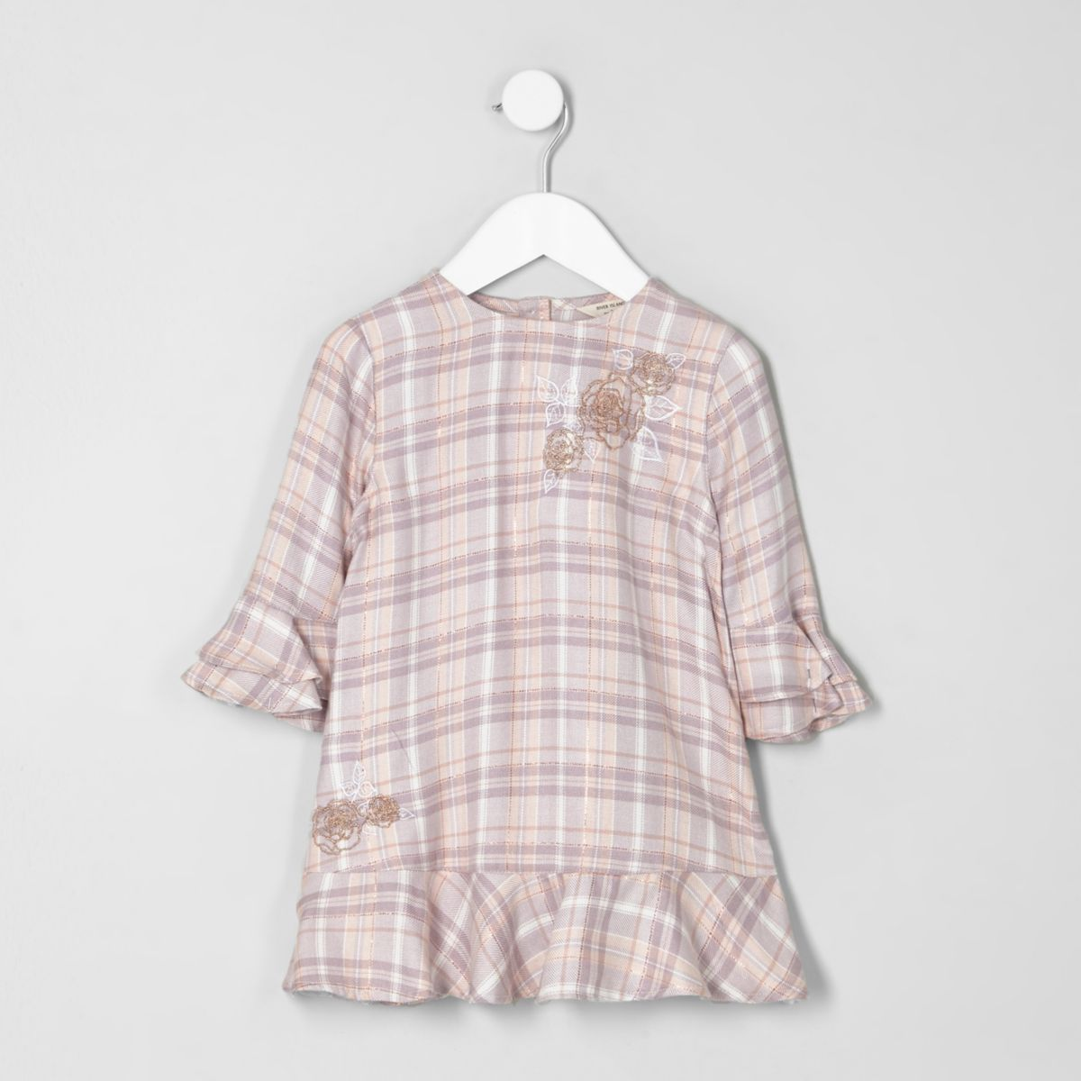 Mini girls pink check embroidered smock dress