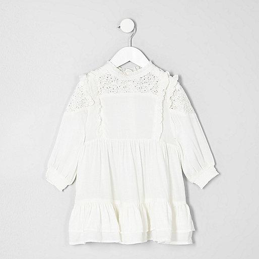 Mini girls cream high neck frill dress