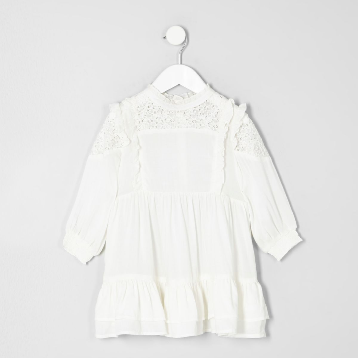 Mini girls cream high neck frill dress