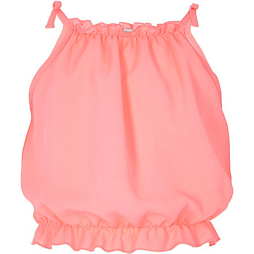 Girls pink bow shoulder cami top