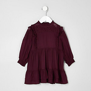 Mini girls dark purple frill high neck dress