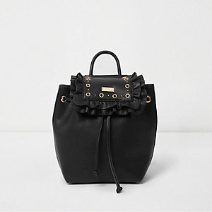 Girls black eyelet ruffle backpack