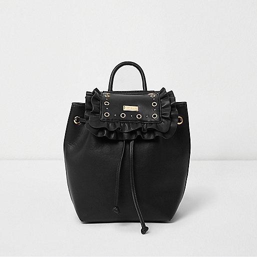 Girls black eyelet ruffle backpack