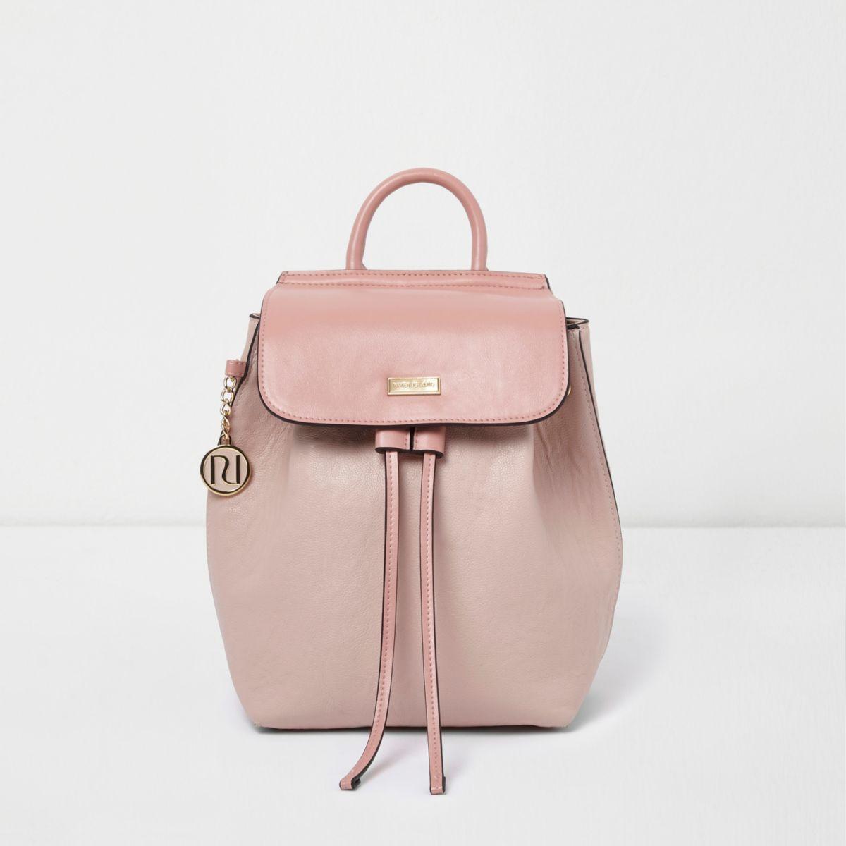 Girls pink drawstring RI chain backpack