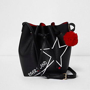 Girls black star pom pom duffle bag