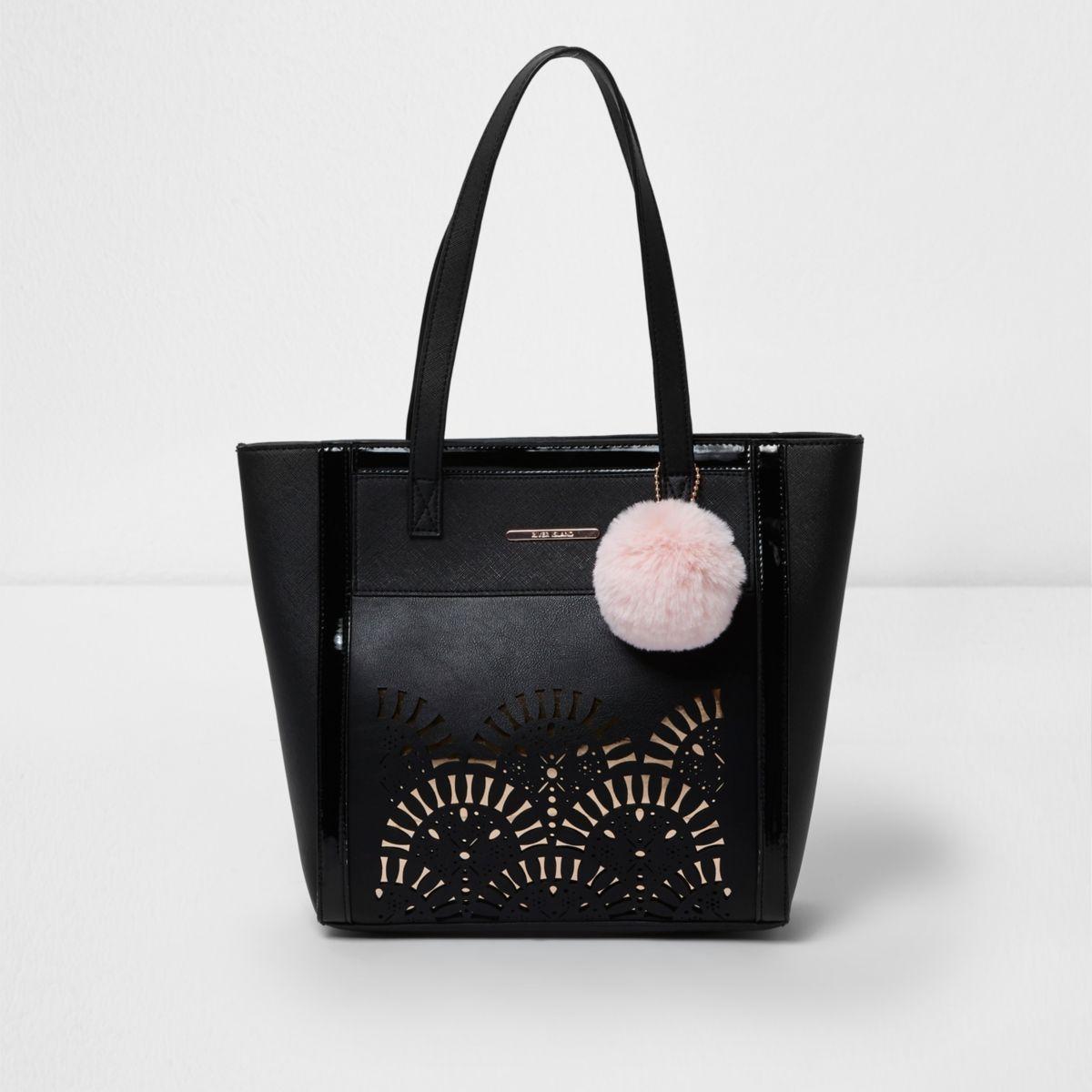 Girls black laser cut shopper tote bag