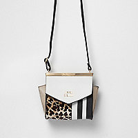 Girls brown animal and stripe print bag