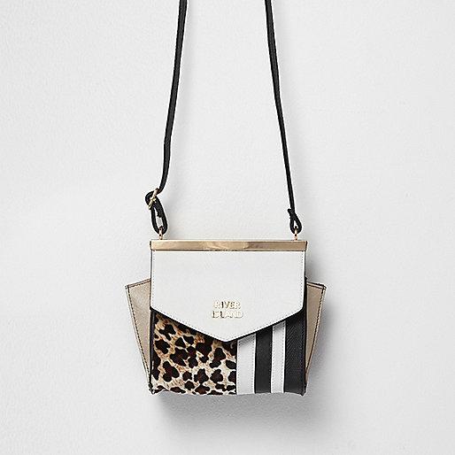 Girls brown animal and stripe print bag