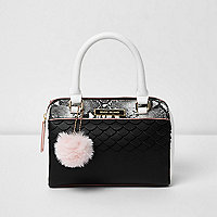 Girls black snake detail pom pom bowler bag