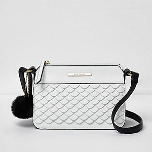 Girls white scallop front crossbody bag