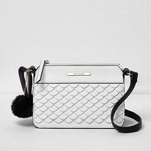 Girls white scallop front crossbody bag