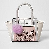 Girls pink lazer cut pom pom tote bag