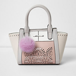 Girls pink lazer cut pom pom tote bag