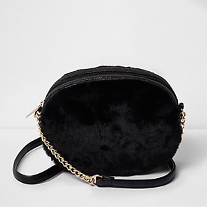 Girls black faux fur oval cross body bag
