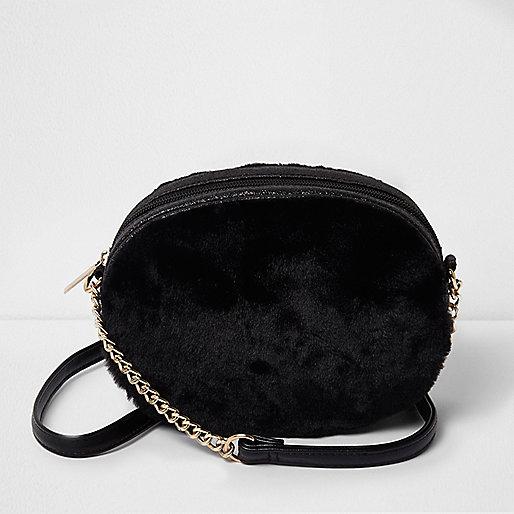Girls black faux fur oval cross body bag