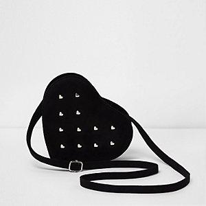 Zwarte hartvormige crossbodytas met studs