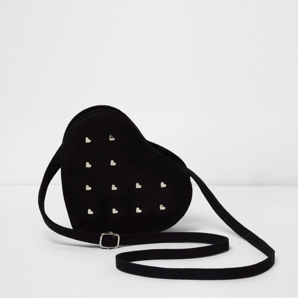 Girls black heart studded cross body bag