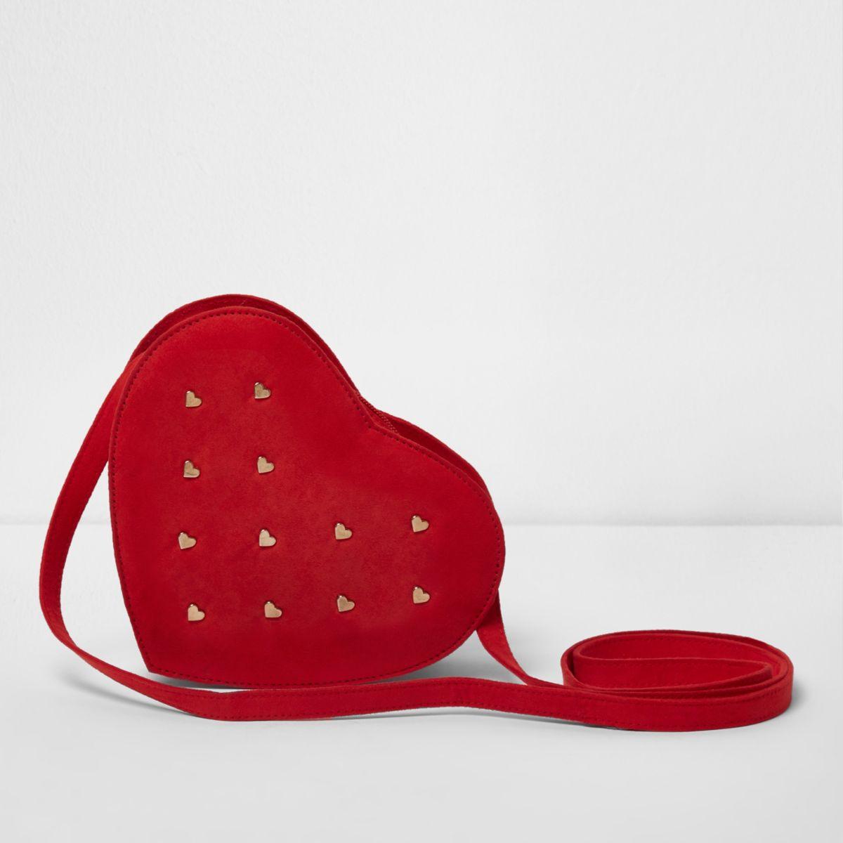 Girls red heart studded cross body bag