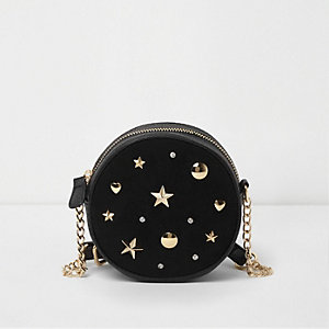 Girls black studded cross body circle bag