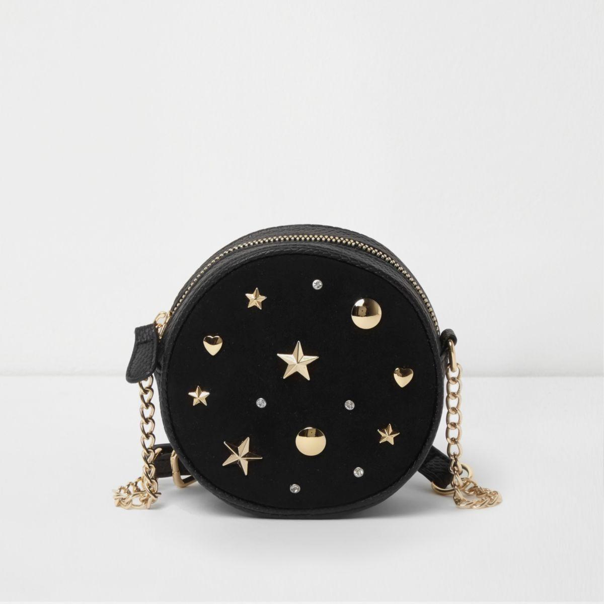 Girls black studded cross body circle bag