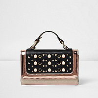 Girls black pearl studded metallic bag