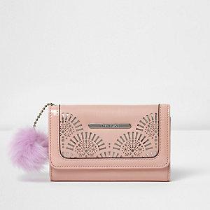 Roze laser-cut portemonnee met pompon voor meisjes