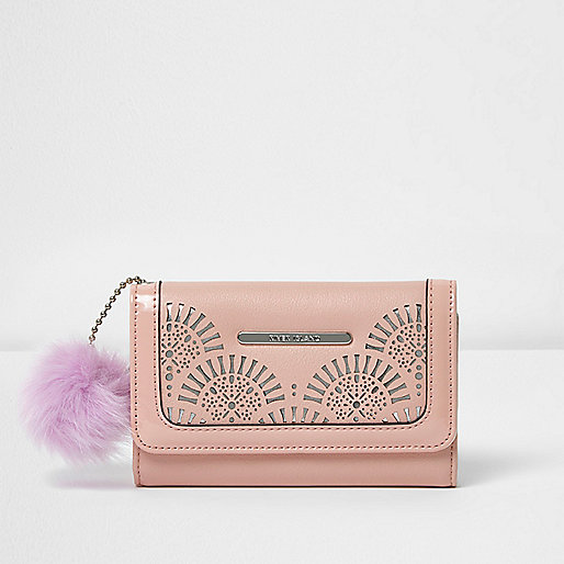 Girls pink lazer cut pom pom trifold purse
