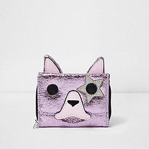 Porte-monnaie rose métallisé motif chien pour fille