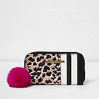 Girls brown leopard print zip around purse