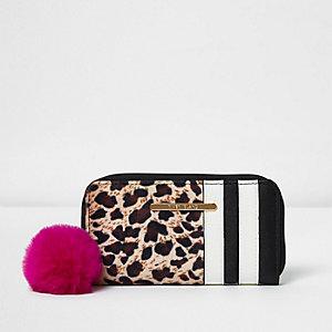 Bruine portemonnee met rits rondom en luipaardprint voor meisjes