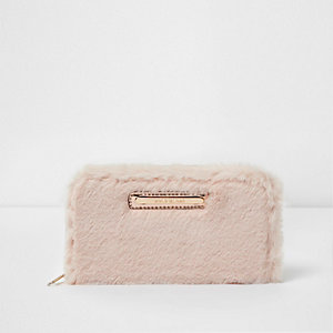 Girls cream faux fur purse