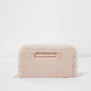 Crèmekleurige portemonnee van imitatiebont voor meisjes