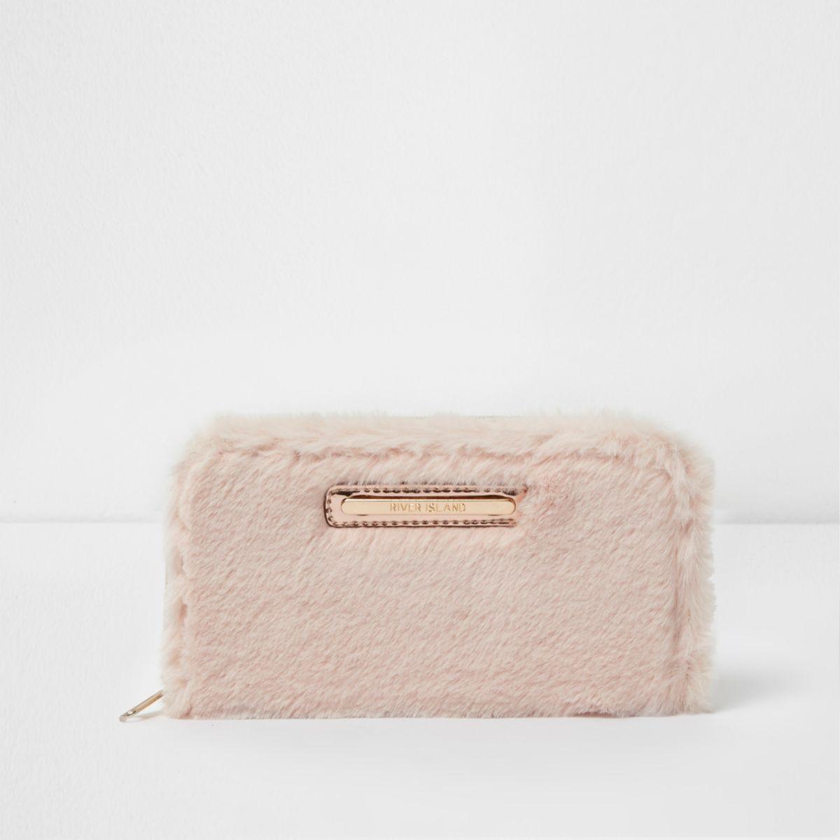 Girls cream faux fur purse