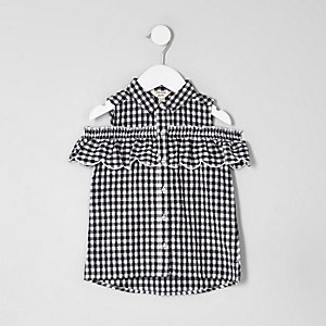 Mini girls white gingham cold shoulder shirt