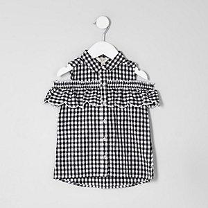 Chemise motif vichy blanche à épaules dénudées mini fille