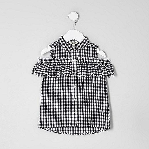 Mini girls white gingham cold shoulder shirt