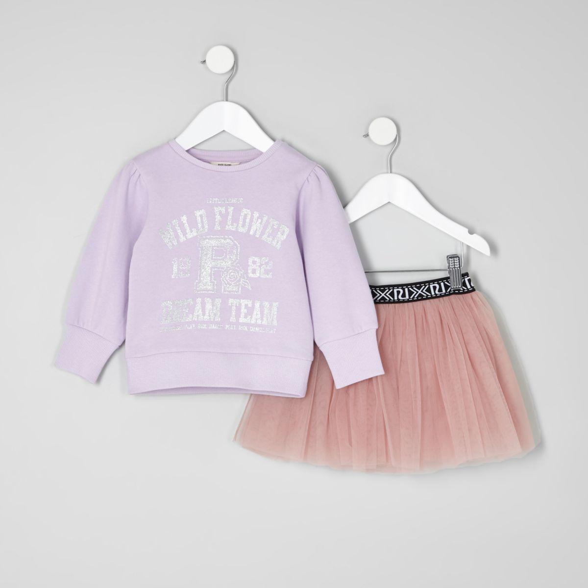Mini girls purple sweatshirt and tutu outfit
