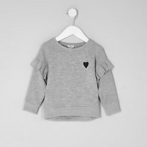 Mini girls marl grey frill sweatshirt