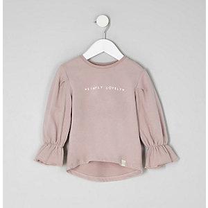 Mini - Paarse top met 'lovely'-print en ruches aan de manchetten voor meisjes