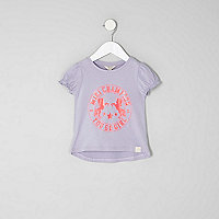 Mini girls purple unicorn puff sleeve T-shirt