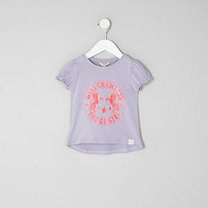 Mini - Paars T-shirt met pofmouwen en eenhoornprint voor meisjes