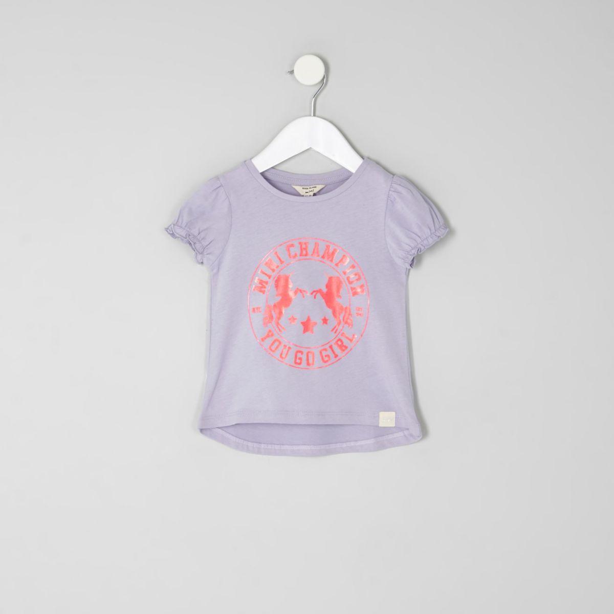 Mini girls purple unicorn puff sleeve T-shirt