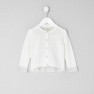 Mini - Crème vest met stippen en achterkant van mesh voor meisjes