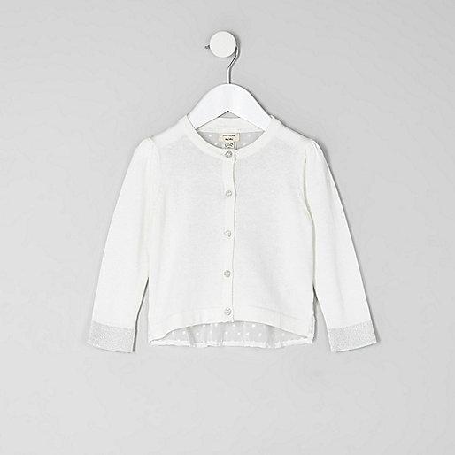 Mini girls cream dobby mesh back cardigan