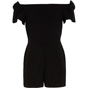 Girls black bow sleeve bardot playsuit