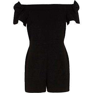 Zwarte bardotplaysuit met strik op de mouwen voor meisjes