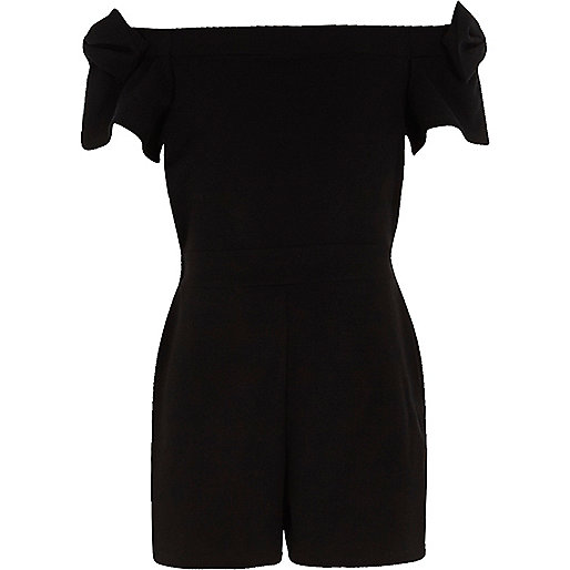 Girls black bow sleeve bardot romper
